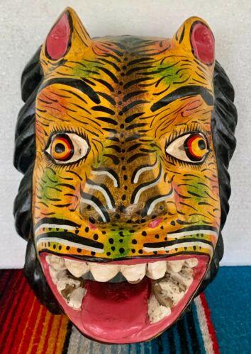 """Mardi Gras Folk Art Carved Wood Jaguar Leopard Cat Devil Lion Face Mask 10"""""""