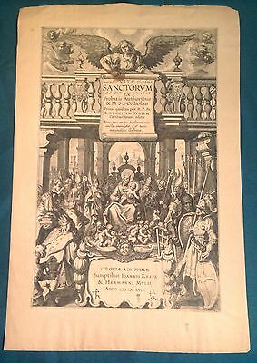 Original Engraved Title Leaf from Vitae Sanctorum, 1617