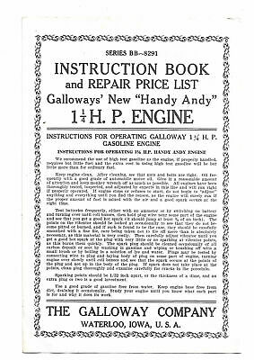 Galloway 4,6,8,12,and 16 HP Instructions and Parts Book