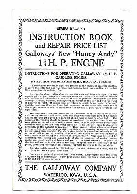 Galloways Handy Andy 1 14 Hp Hit Miss Engine Instruction Repair List 2