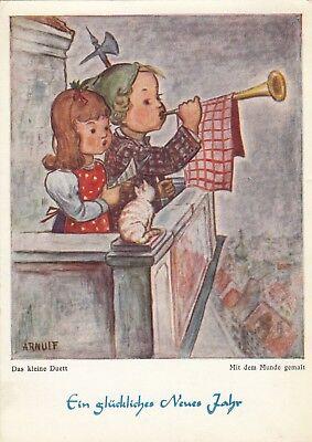 Neujahr Künstler-AK 1965 Arnulf Das kleine Duett Turmbläser junges Paar 1901110 ()