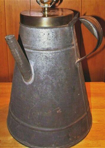 Antique Sheet Iron Oil Lamp Filler Can w/ Strap Handle Handmade Americana Decor