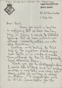 HMS PROTECTOR. 1984. David Irvine.  Royal Navy. Signed Letter.   Ai.1187