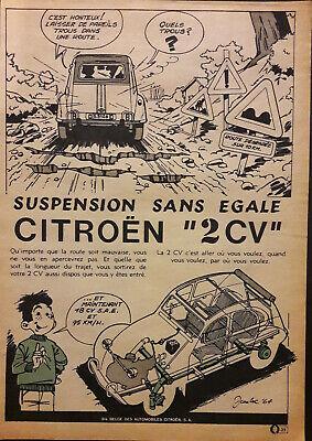Une  publicité papier BD 1964  auto  Citroën  2 CV  20, 3 x 28, 7 cm
