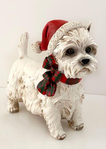 White Scottie Scottish Terrier Resin Dog Christmas Santa Hat Figure Figurine