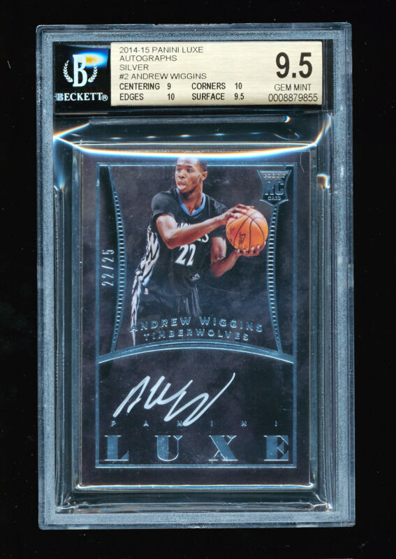1/1 BGS 9.5 ANDREW WIGGINS 2014 PANINI LUXE SILVER AUTO JERSEY # 22/25 POP 1 RC