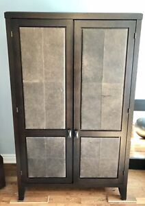 Armoire - solid wood with leather panels (delivery included)