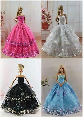 New 4 PCS Princess Dress/Wedding Clothes/Gown For Barbie Doll S303