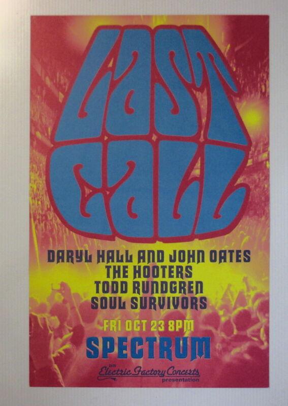 Hall & Oates Concert Poster Spectrum Philadelphia October 23rd Hooters Rundgren!