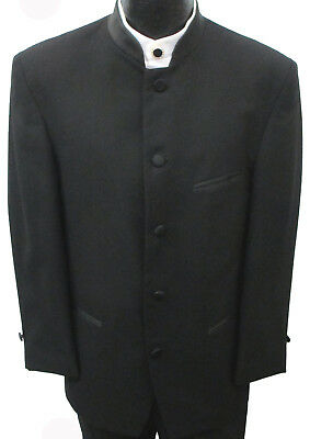 Black Mandarin Nehru Collar Tuxedo Jacket Formal Wedding Costume Beatles Band