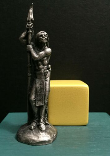 Hudson Pewter Native American Indian Arrowhead Spear Hunter Warrior Art Figurine