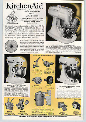 1957 PAPER AD Kitchenaid Electric Mixer Deluxe Family Size 3 Models