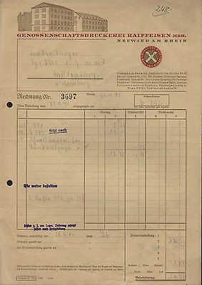 NEUWIED am Rhein, Rechnung 1941, Genossenschaftsdruckerei Raiffeisen mbH