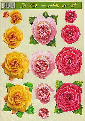3D Etappen-Bogen-Rosen-Blüten in rosa, rot, orange - 3DArt 12