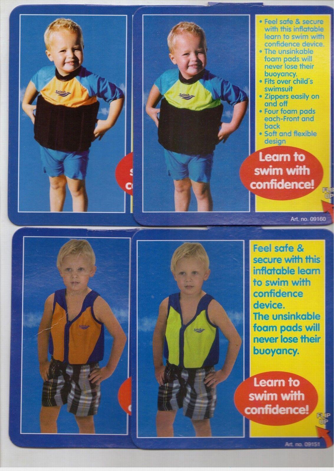 Badeanzug Schwimmweste Anzug Schwimmhilfe 3 - 6 Jahre Gr S - M Blau Gelb Orange
