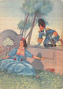 Cartolina-Illustrata-700-Romantico-n-96-Duval-dama-in-giardino