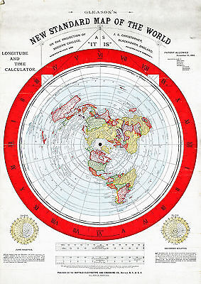 """Flat Earth Map - Gleason's 1892 New Standard Map of the World LARGE 23""""x32"""""""