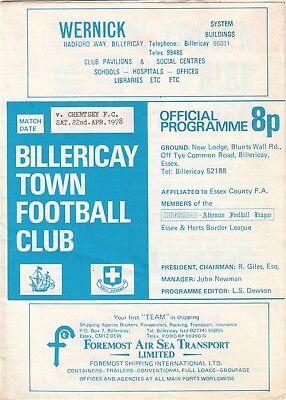 Billericay Town v Chertsey FC 1977/8 (22 Apr) Athenian League