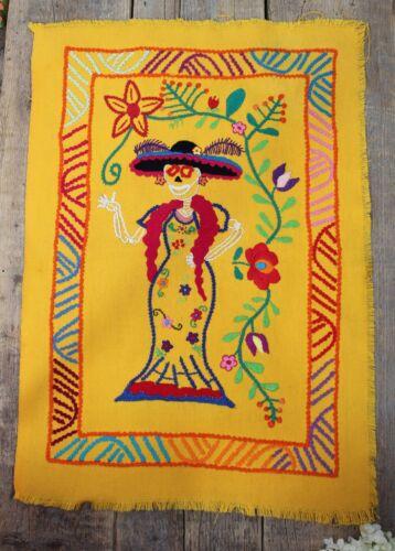 Catrina Dias de los Muertos Hand Embroidered Panel Michoacan Mexican Folk Art