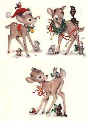 """3 Christmas Woodland Reindeer 2-1/2"""" Waterslide Ceramic Decals Gx"""