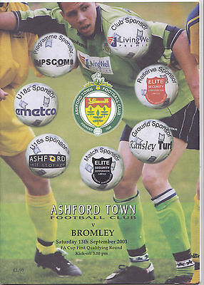 ASHFORD TOWN V BROMLEY FA CUP 13/9/2003