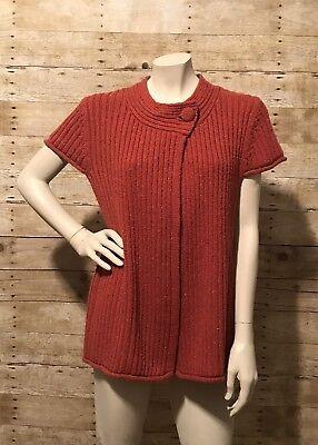 Cardigan Sweater Orange Red One Button Fasten Short Sleeve Women's