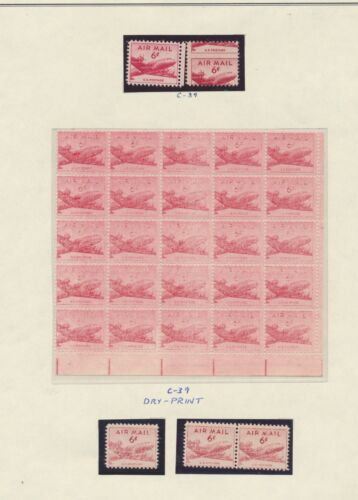 "#c39 Var. ""6¢ Airmail"" With Misperf & Dry Printing"" Errors Bt1338"