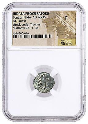 Roman Province of Judaea Bronze Prutah Pontius Pilate (AD 26-36) NGC F SKU42696