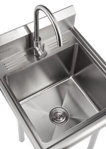 BRAND NEW TRINITY STAINLESS STEEL UTILITY SINK W/ FAUCET