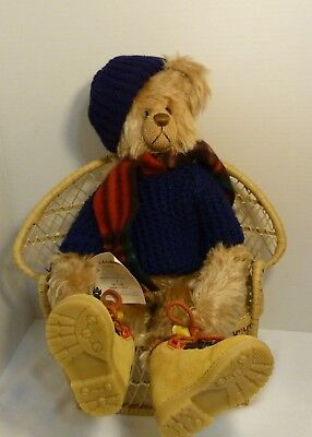 """Rags A. Muffin Authentic Folk Art Handmade in USA Large Bear """"Billy"""" Signed COA"""