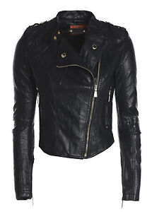 NEW WOMENS LEATHER LOOK FITTED LADIES BIKER ZIP JACKET