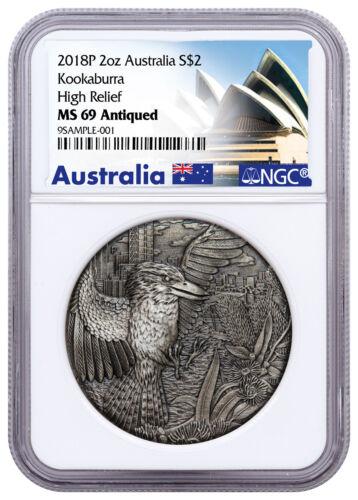 2018 Australia 2 oz High Relief Silver Kookaburra Antiqued $2 NGC MS69 SKU53413
