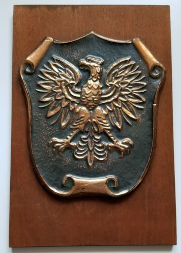 """Vintage Brass/Copper Coat of Arms of Poland Wooden Wall Plaque ~ 6.5"""" by 9.75"""""""