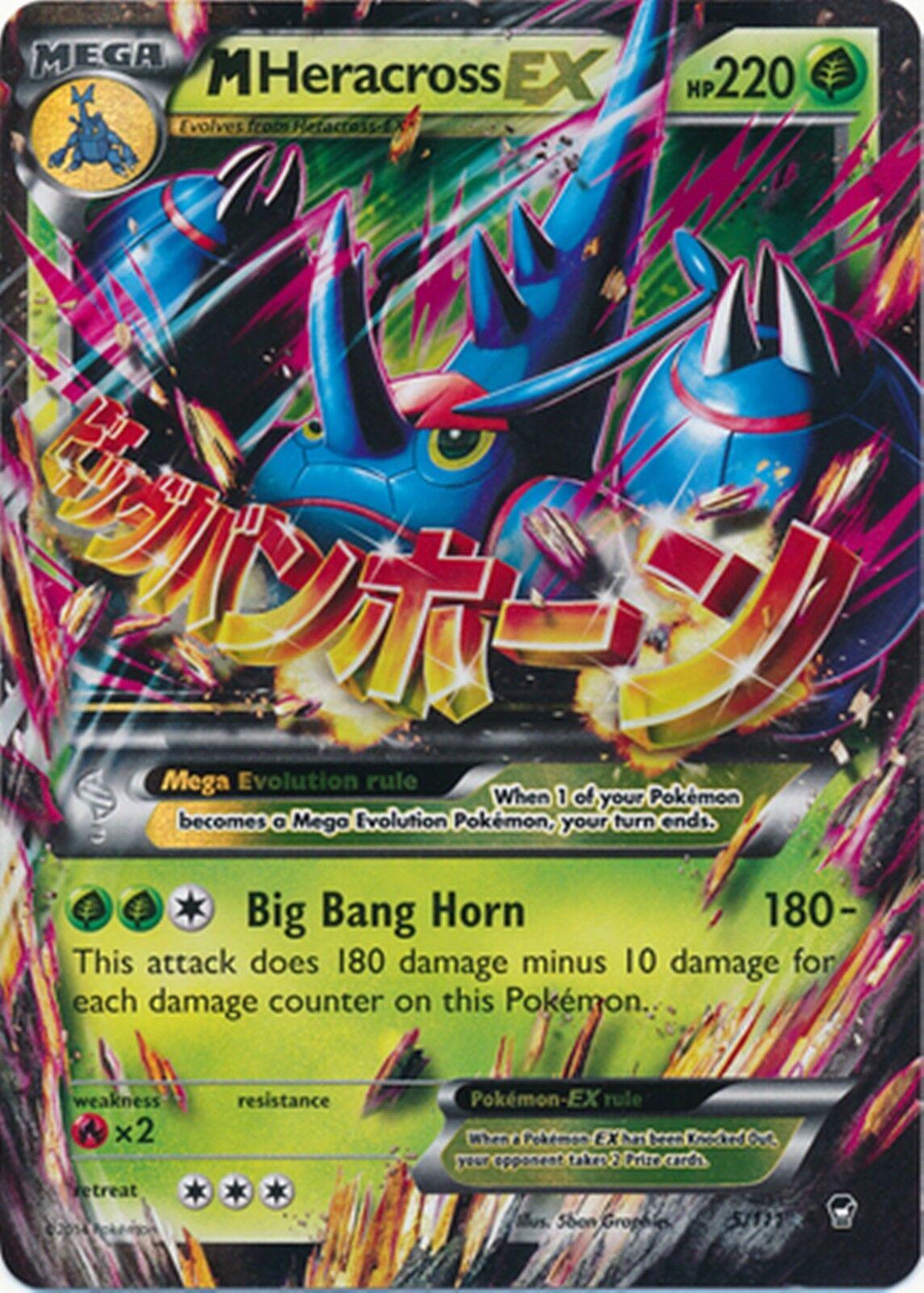 PL Pokemon MEGA M HERACROSS EX Card FURIOUS FISTS Set 5//111 XY X Y Ultra Rare