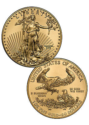 RANDOM DATE 1 Troy Oz Gold American Eagle $50 Gem BU Coin SKU26177