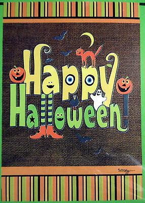"small ""Happy Halloween"" Deco Burlap style Garden Flag (12.5"" x 18"") 2 sided"