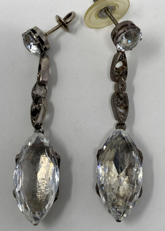 Antique Sterling Silver French  Paste Rock crystal Dangle Screw Post Earrings