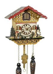cuckoo clock black forest quartz german  music  chalet style wood new owls new