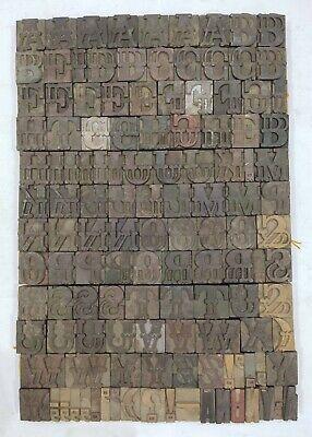 Vintage Letterpress Woodwooden Printing Type Block Typography 128pc 1.65 Tp34