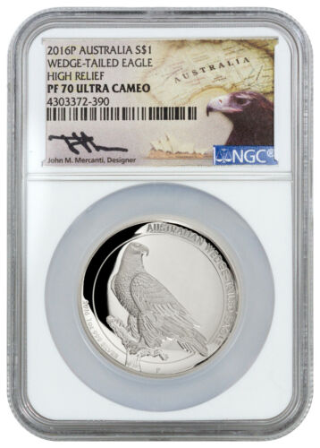 2016-P Australia 1 Oz Silver HR Wedge Tailed Eagle NGC PF70 (Mercanti) SKU38757