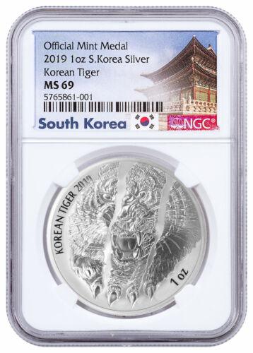 2019 South Korea 1 oz Silver Tiger Medal NGC MS69 Exclusive Label SKU58826