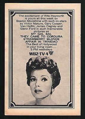 1965 Wbz Boston Tv Ad Rita Hayworth Movies My Gal Sal   Strawberry Blonde