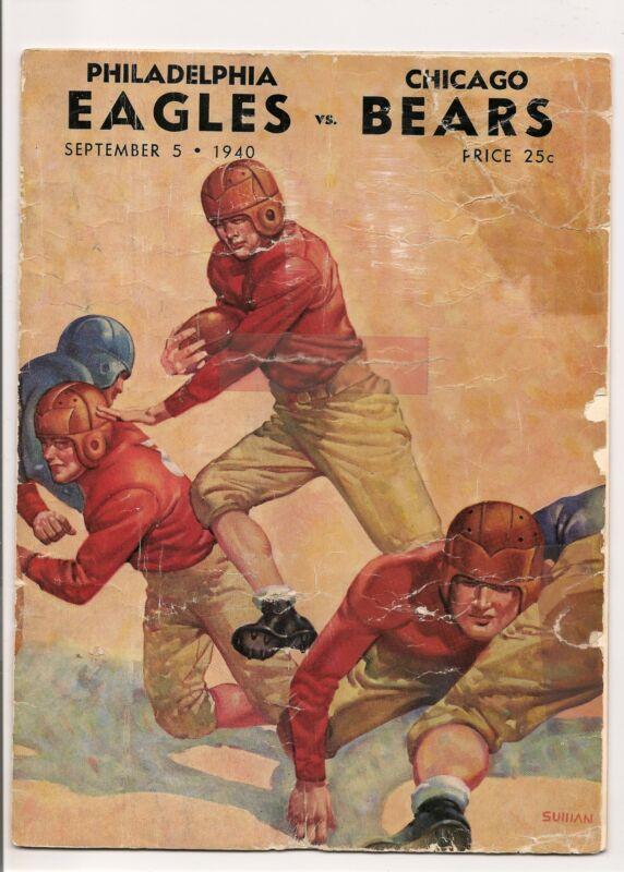 1940 Philadelphia Eagles-Bears Exhibition Program Davey O'Brien RARE!!