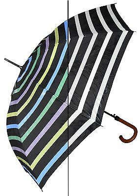 "Lot of 12 - 46"" Color-Changing Stripes Auto Umbrella-RainStoppers Rain/Sun UV"