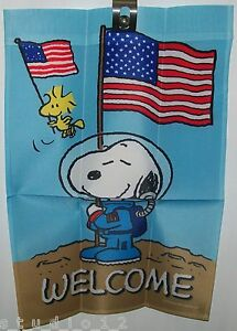 Peanuts Snoopy Woodstock Patriotic Astronaut WELCOME Small ...