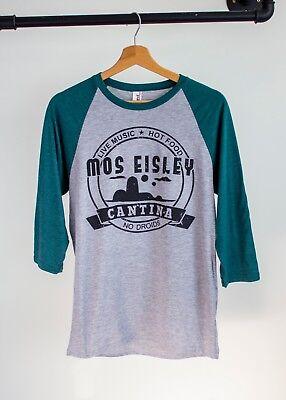 Mos Eisley Cantina, Star Wars Design T-Shirt  | Green / Grey Baseball Tee