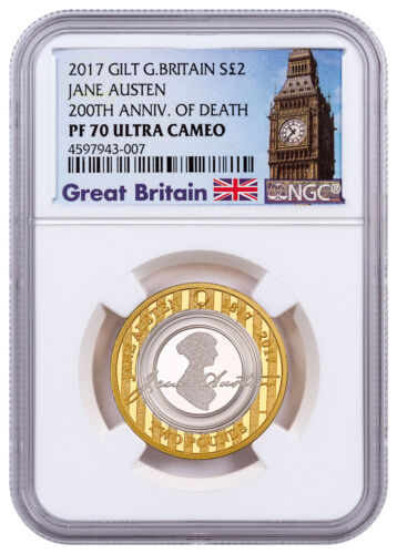 2017 Britain Enduring Romance J Austen Silver Gilt NGC PF70 UC Big Ben SKU49227