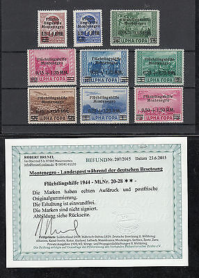 Montenegro, Nr. 20-28, postfrisch, Befund Brunel VP