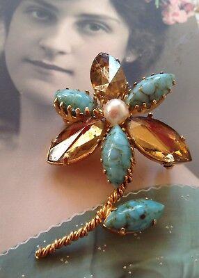 Vintage Brosche Blume Gold mit Türkisen Perle und Strass
