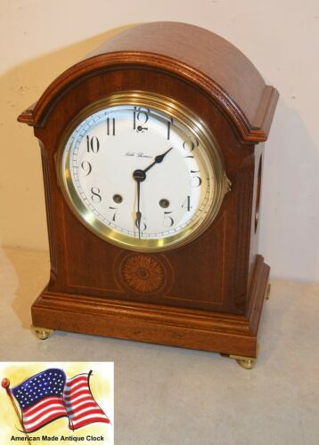 RESTORED SETH THOMAS TORY-1913 ANTIQUE CABINET CLOCK IN MAHOGANY WITH INLAYS